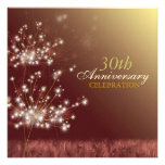Gold + Brown 30th Fall Wedding Anniversary Party Invitations