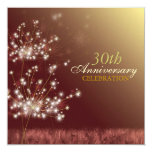 """Gold + Brown 30th Fall Wedding Anniversary Party 5.25"""" Square Invitation Card"""