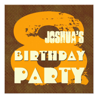 GOLD BROWN 8th Birthday Party 8 Year Old V11D Invite