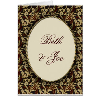 Gold, brown and cream damask card