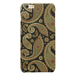 Gold Brown And Green Pastel Tones Vintage Paisley Glossy iPhone 6 Plus Case