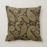 Gold Brown And Green Pastel Tones Vintage Paisley Throw Pillow