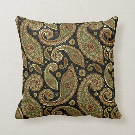 gold brown and green pastel tones vintage paisley throw pillow. Black Bedroom Furniture Sets. Home Design Ideas