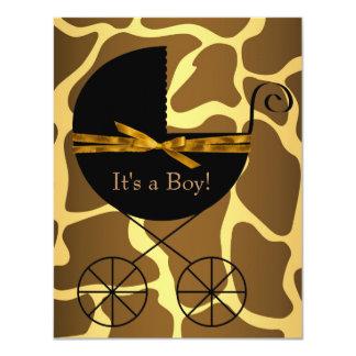 Gold Brown Carriage Boy Giraffe Baby Shower Custom Invitations