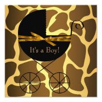 Gold Brown Carriage Boy Giraffe Baby Shower Invitation