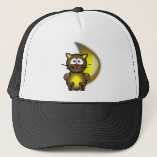 Gold Brown Cartoon Cat Trucker Hat