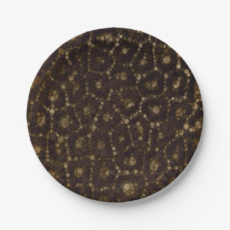Gold Brown Cheetah Abstract Paper Plate