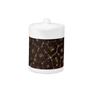 Gold Brown Cheetah Abstract Teapot
