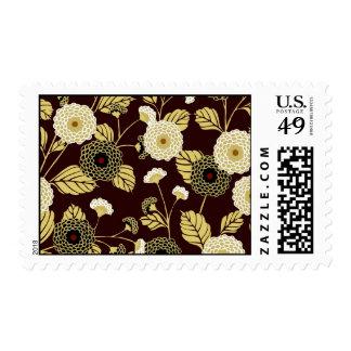 Gold Brown Chrysanthemum Japanese Floral Kimono Postage Stamp