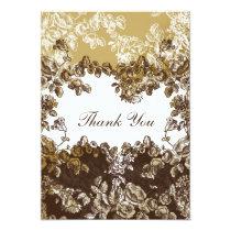 """""""gold brown"""" damask wedding ThankYou Cards"""