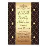 Gold brown diamond pattern 100th Birthday Party Card
