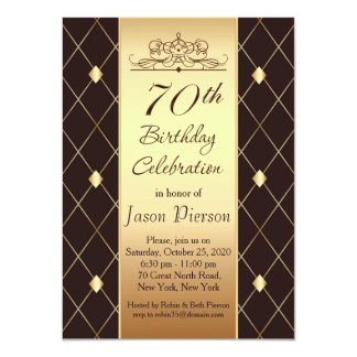 Gold brown diamond pattern 70th Birthday Party Card