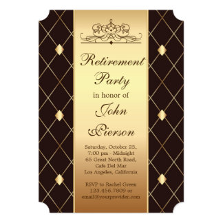 Gold brown diamond pattern Retirement Party Invite
