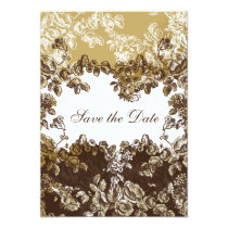 """""""gold brown"""" elegance save the date anouncement card"""