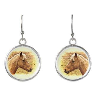 Gold Brown Horses Animal Drop Earrings