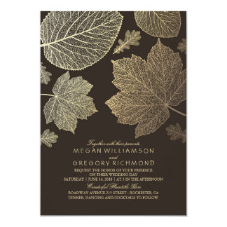 Gold Brown Leaves Vintage Fall Wedding Card
