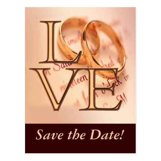 Gold/Brown LOVE, Wedding Bands O Design Postcard