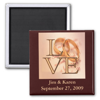 Gold/Brown LOVE, Wedding Bands Save the Date 2 Inch Square Magnet