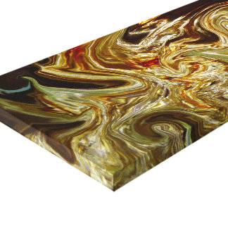 Gold brown swirls Stretched Canvas Print
