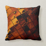 Gold brown tile abstract throw pillow