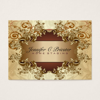 Gold & Brown Tones Vintage Elegant Swirls 2 Business Card