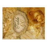 "Gold brown vintage ""table number"" wedding post cards"