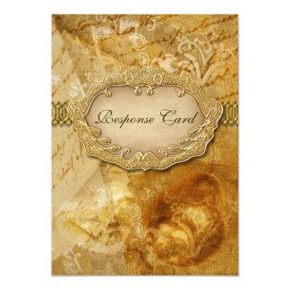 "Gold brown vintage wedding ""response card"" 5x7 paper invitation card"