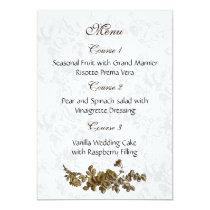 """gold brown"" wedding menu card"