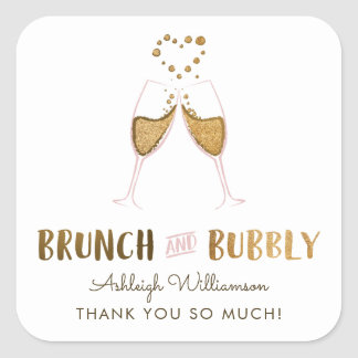 Gold Brunch & Bubbly Bridal Shower | Thank You Square Sticker