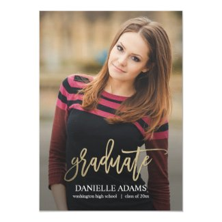 Gold Brush EDITABLE COLOR Graduation Announcement