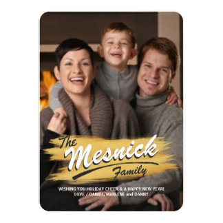 Gold Brush Stroke Curved Text Christmas Photo Card
