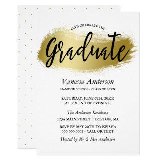 Gold Brush Stroke Graduation Party Card