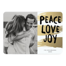Gold Brush Strokes | Holiday Photo Card Personalized Invite