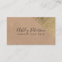 Gold brushstroke kraft hair makeup typography business card
