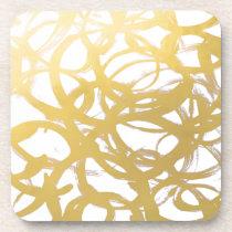Gold Brushstroke Watercolor Circles Coaster