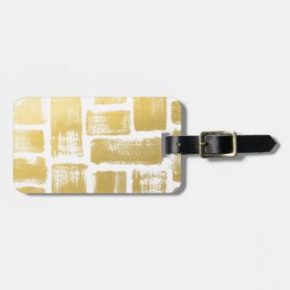 Gold Brushstroke Watercolor Stripes Bag Tag