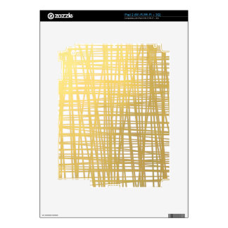 Gold Brushstroke Watercolor Stripes Decal For iPad 2