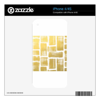 Gold Brushstroke Watercolor Stripes iPhone 4S Skins