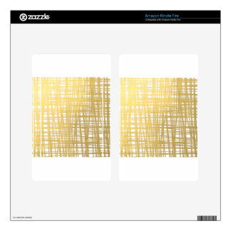 Gold Brushstroke Watercolor Stripes Kindle Fire Decal