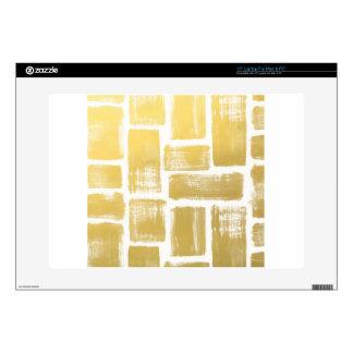 Gold Brushstroke Watercolor Stripes Laptop Skins