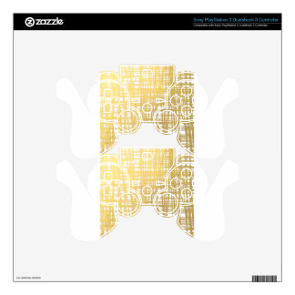 Gold Brushstroke Watercolor Stripes PS3 Controller Decals