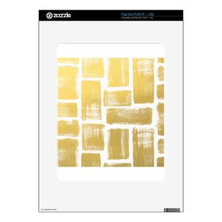 Gold Brushstroke Watercolor Stripes Skins For iPad