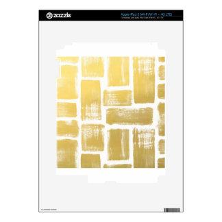 Gold Brushstroke Watercolor Stripes Skins For iPad 3