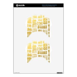 Gold Brushstroke Watercolor Stripes Xbox 360 Controller Skin