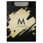 Gold Brushstrokes Monogram Clipboard, Personalized Clipboard