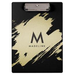 Gold Brushstrokes Monogram Clipboard, Personalized Clipboard