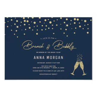 Gold Bubbles Brunch & Bubbly Invitation