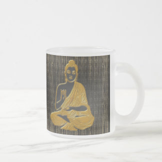 gold Buddha Frosted Glass Coffee Mug