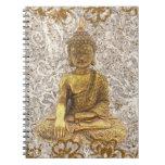 Gold Buddha Golden Floral Flowers Notebook