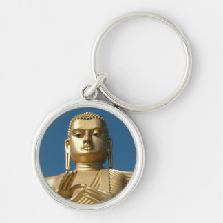 Gold Buddha Image Silver-Colored Round Keychain